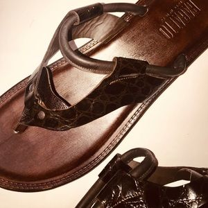 BAGATTO ITALY BROWN EMBOSSED CROC LEATHER SANDALS